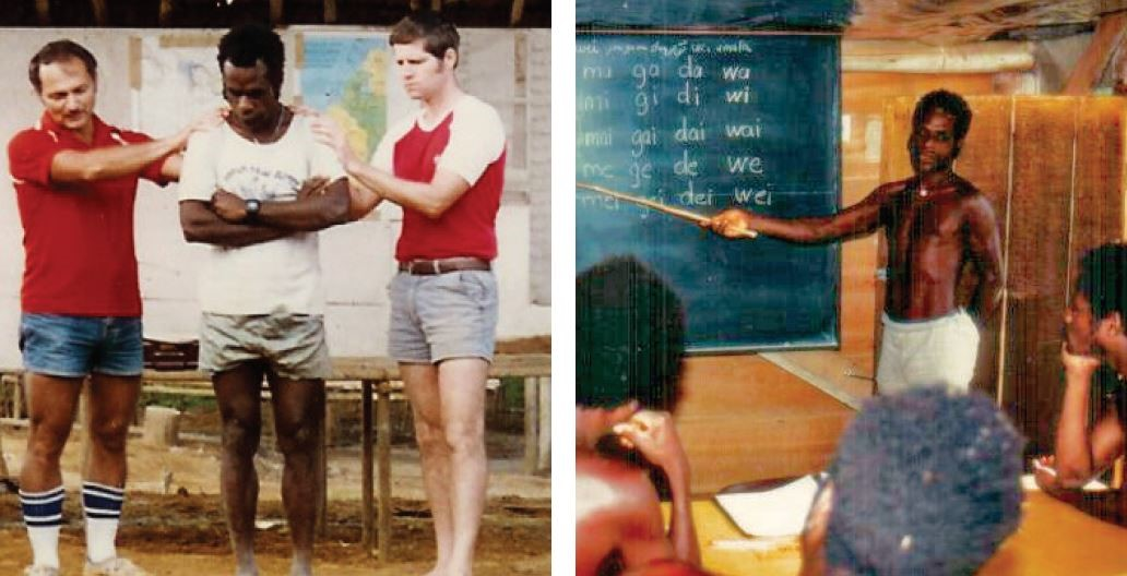 Left: Mark Zook and Dave Yunker are commissioning a Mouk teacher. Right: Teaching literacy