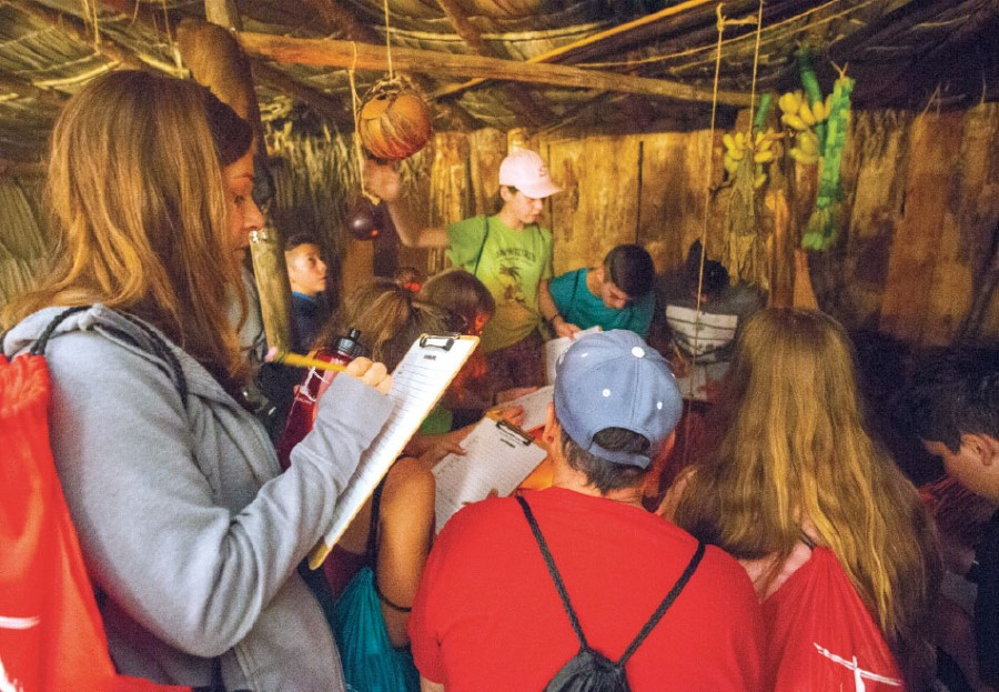Students at Wayumi Expedition try their hand at learning an unwritten language