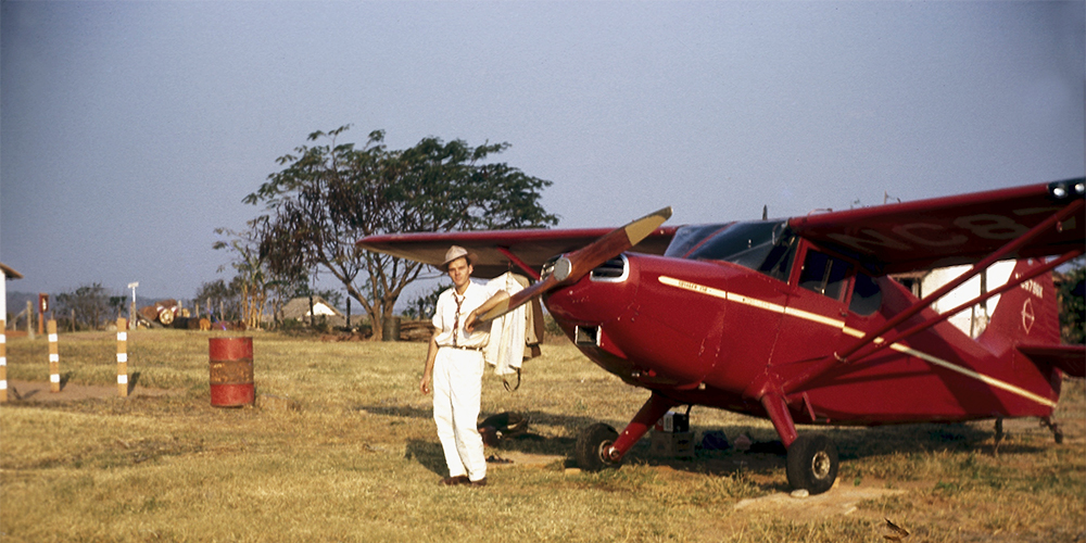 The first plane taken overseas was a four-seater 1947 Stinson Voyager used to extend the gospel.