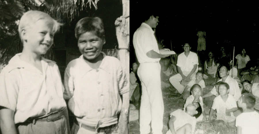 Left - Cecil Dye's son, Paul, with his Ayoré friend Jomone; Right - Ayoré believer, Ecarai, sharing the gospel with fellow tribesmen
